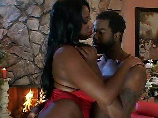 Big breasted ebony slut rides black dick