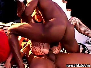 Crystal Rae Blonde Slut Rough DP With 2 Black Studs
