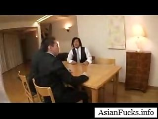 Asian in A Maid Cosplay takes A load in her mouth comma pussy and Ass part 4