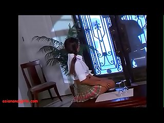 Asiananalgirls.com asian teen schoolgirl in pigtails get anal black monster cock