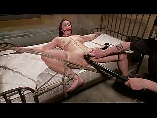 Redheads pussy controlled by master whille tied to the bed