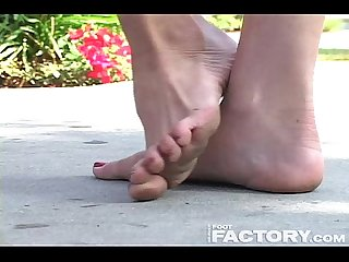 Christy cat dusty high arched feet in parking lot