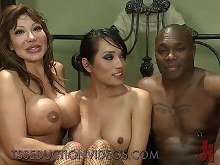 Black guy and tranny fuck hot busty Wife