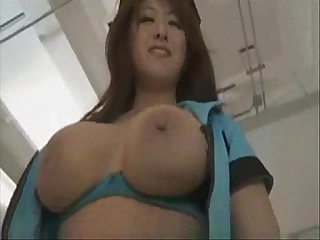 Hot busty japanese police officer gives us a show