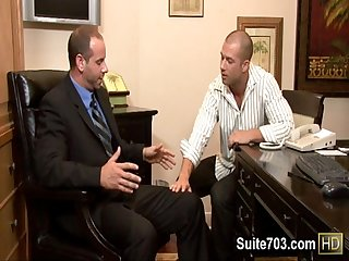Bald gays Girth and Rod have oral and anal sex at work only on Suite703