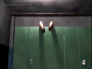 Hentai babe sucks dick upside down in public toilet