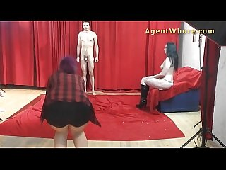 19yo casting boy gets wild striptease from nasty milf