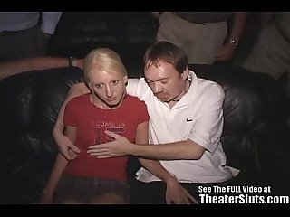 Skinny blonde wild freak fucked in theater