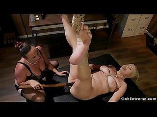 Lesbian employee anal fucked in office