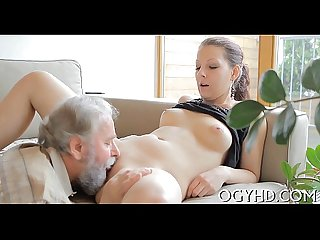 Lewd old chap teases young babe