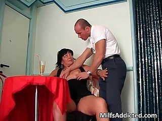 Big chubby milf sucks some cock