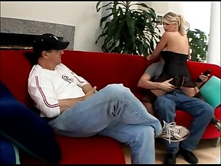 Hot blonde Wife vicky vette forces her husband to watch