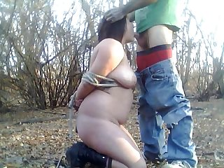 Kitty All Tied Up In The Woods Meet me www.69SexLive.com