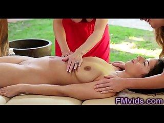 Amazing lesbian double massage