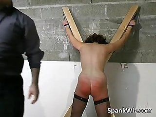 Tied brunette gets big ass spanked
