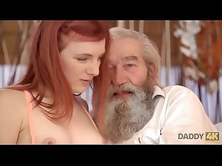 Daddy4k chick s shaved pussy is fingered by old man and son in turn