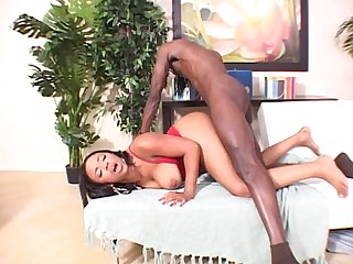 Fat ass tatooed ebony bitch fucks black dick