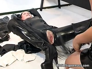 Slutty brunette MILF in rubber massage