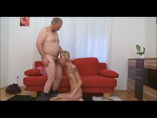 Steaming young babe fucks old chap