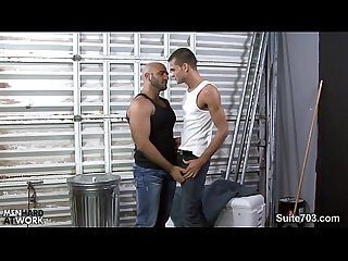 Excited gay gives blowjob at work