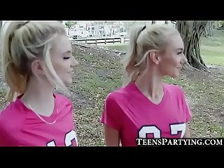 Soccer teen girls take facials