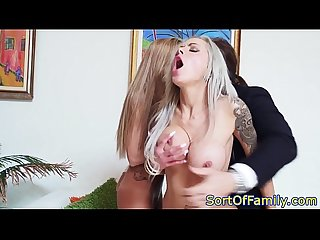 Bigtitted stepmom cocksucking in taboo trio