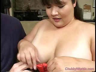 Chubby babe gets big cock sex