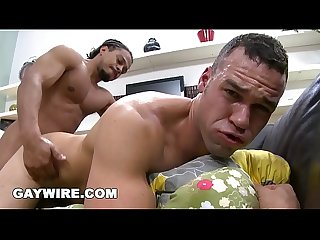 GAYWIRE - Damian James Gets Castro's Big Black Cock Jammed In His White Ass