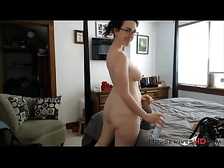 Michigan milf abigail grey with glasses fucks huge Dildo