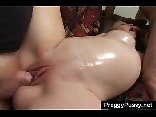 Busty pregnant slut hongry for cock gets pussy and mouth filled by 2 dicks