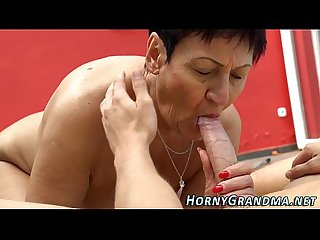 Massaged granny cum mouth