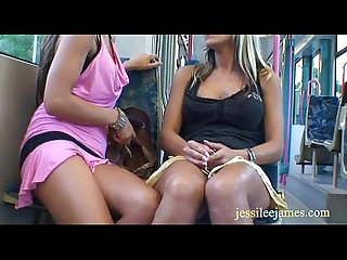 Naughty lesbians have public sex games in a tram