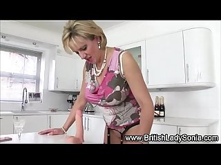 Mature lady sonia toy playing