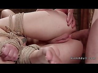 Blonde anal slave gets training in ropes