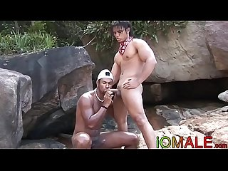 Latino beachgoing hunk barebacked and facialized by BBC