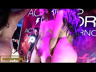Brunettes bigbutt latin sisters orgy on stage
