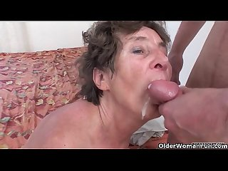 Hairy granny loves anal pounding