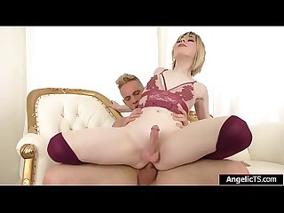 Teen trans Ella Hollywood cums from anal