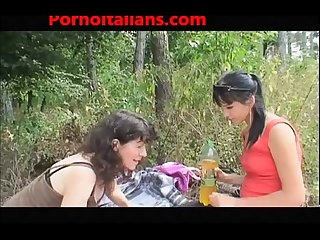 Blowjob in the woods to the old grandmother and her granddaughter