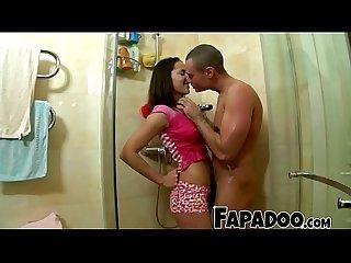 Sexy girlfriend surprising boyfriend in the shower