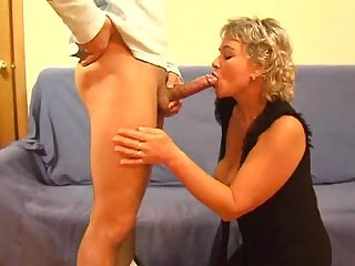 Russian mature blonde with a young guy