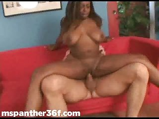 Chubby black pornstar ms Panther loves big white cocks