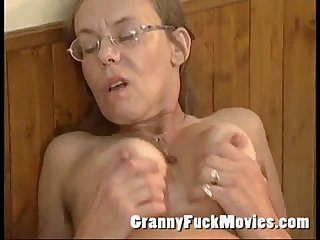 Old granny fucked hard in her hairy ass