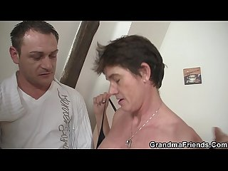 Threesome with hairy pussy granma in red lingerie