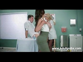 Two Busty doctors nikki benz and briana banks sucking one prick