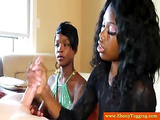 Two nubian handjob babes wank white dude