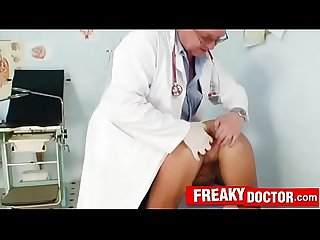 Old dirty doctor opens pussy of Eliss Fire