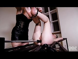 Eva Berger Lesdom Mistress Plays with Her First Timer Sub Linda Brugal