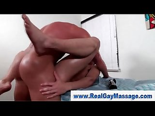 Straight guy gay masseuse deep ass fuck double cumshot