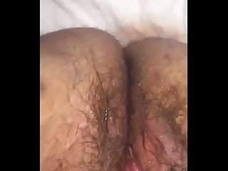 Fingering a bbw S hairy pussy to a squirting mess